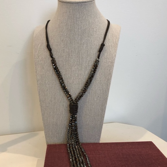 Chico's Jewelry - Brown crystal tassel necklace